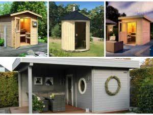 Verschiedene Saunas in einer Collage