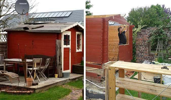 gartenhaus lillehus 40 iso aufbau einrichtung und terrasse. Black Bedroom Furniture Sets. Home Design Ideas