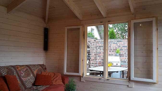 Gartenhaus lillehus 40 iso aufbau einrichtung und terrasse - Fenster beschlagen von innen bei kalte ...