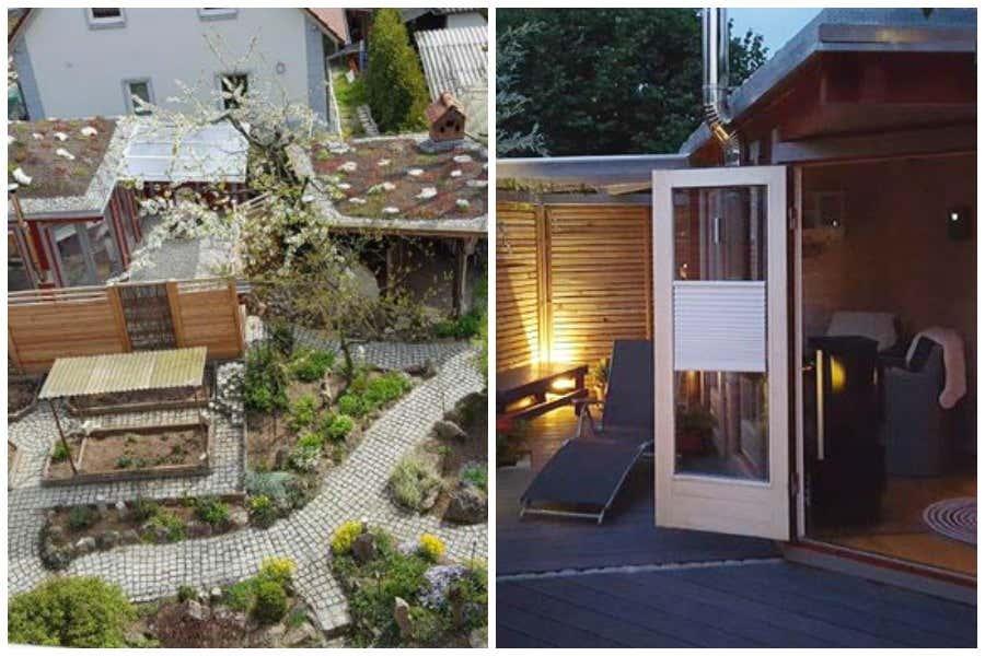 5 eck saunahaus sandor 70 wellness landschaft mit gr ndach - Werkstattofen im gartenhaus ...