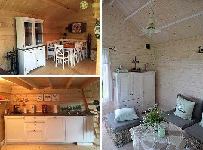 sitzecke kamin wohnliche einrichtungsideen, gartenhäuser im landhausstil: vielseitige einrichtungsideen, Design ideen