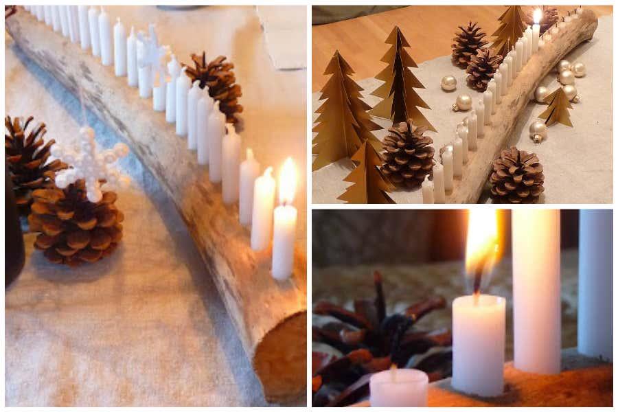 Meine grüne Wiese: Adventskalender als Ast mit Kerzen