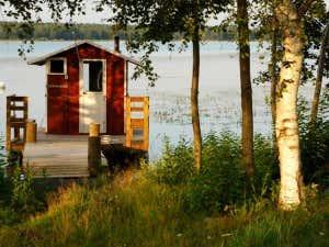 Finnische Sauna am Seeufer