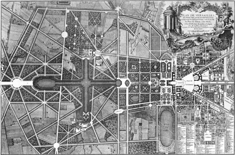 Plan eines französischen Gartens