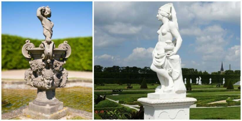 Barocke Skulpturen im französischen Garten
