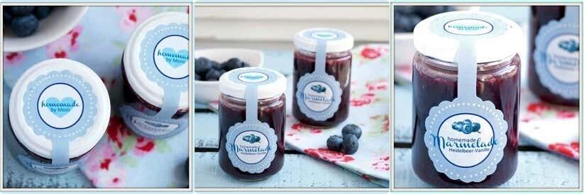 Liebevoll gestaltete Marmeladengläser mit Etikett