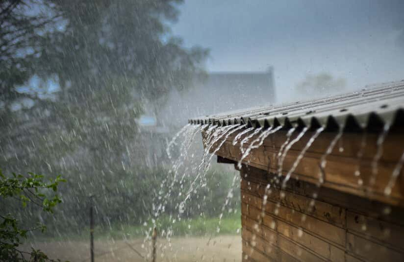 Rainwater flows from the roof