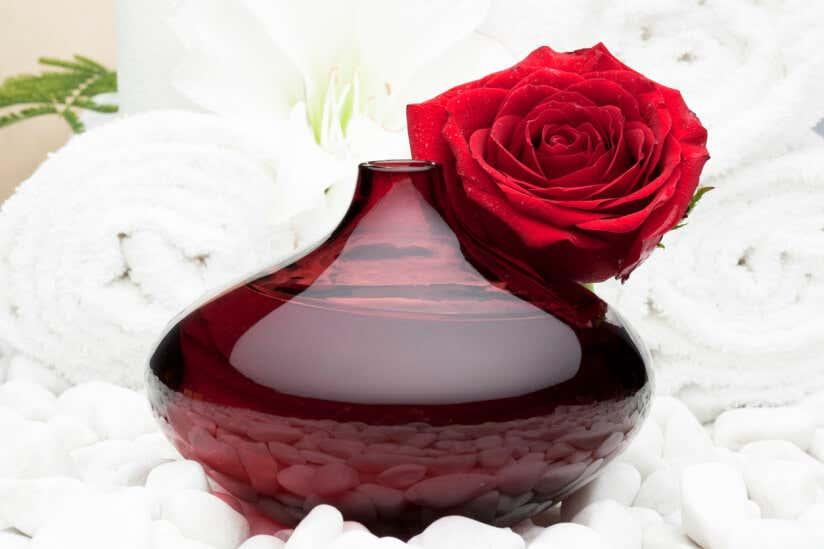 Rosenwasser mit Rose