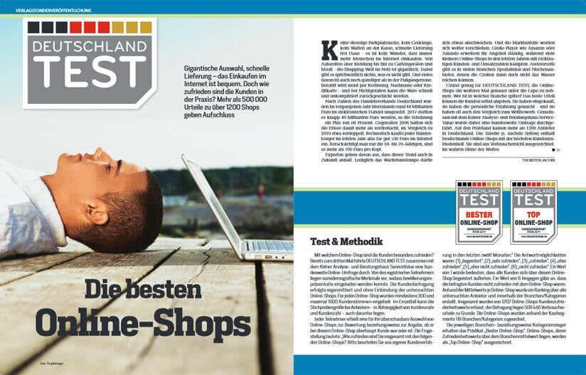 Magazinseite beste Onlineshops