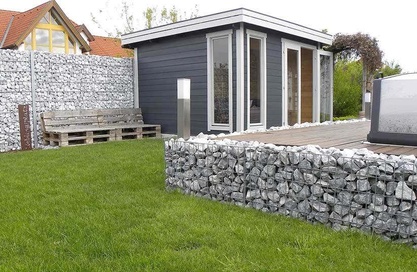gartenhaus modern in grau wei mit gabionen aufbaustory. Black Bedroom Furniture Sets. Home Design Ideas