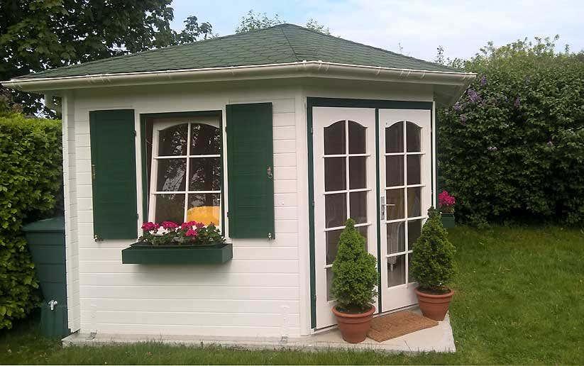 aufbau und einblick das 5 eck gartenhaus alina 28. Black Bedroom Furniture Sets. Home Design Ideas