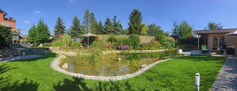 Aufbau einrichtung ambiente saunahaus winterhur 70 for Naturteich pflanzen