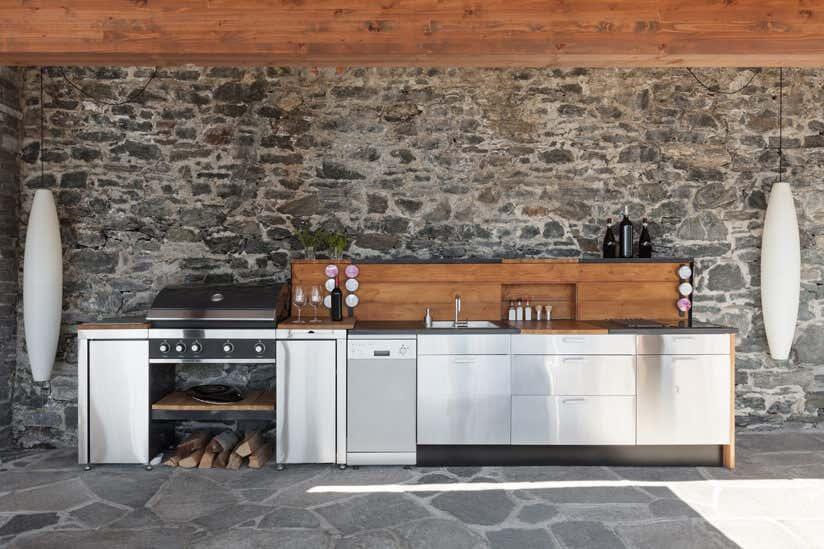 Außenküche Metall Holz
