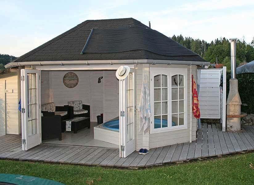 badespa pur ein gartenhaus als poolhaus. Black Bedroom Furniture Sets. Home Design Ideas