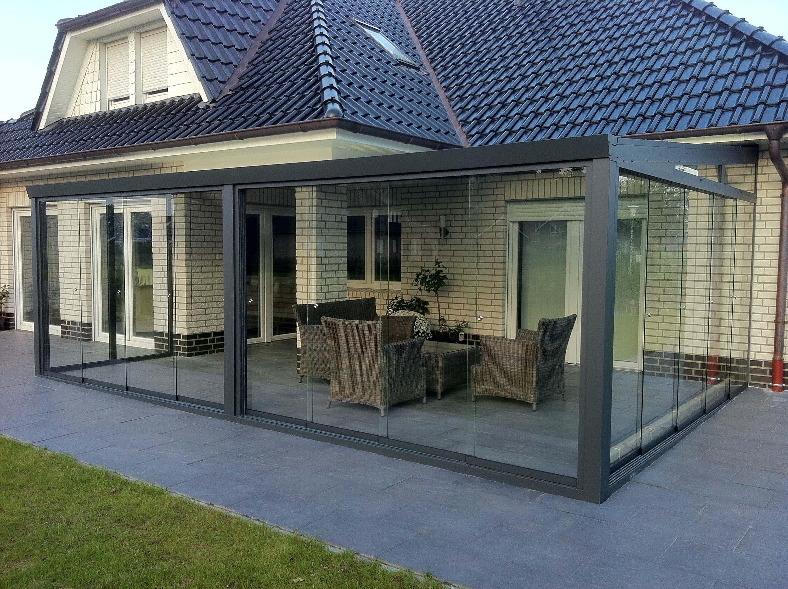 Super Wintergarten mit Glaseindeckung und Glasschiebewände DU53