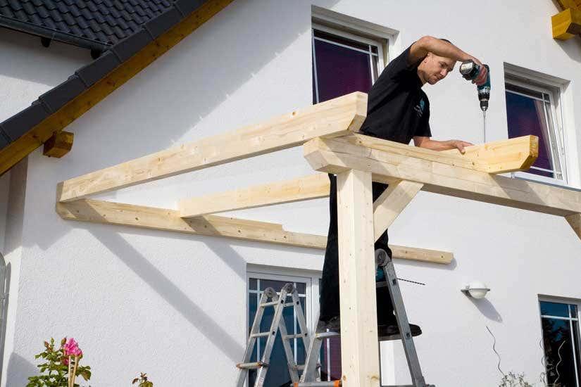 Aufbau Terrassenüberdachung Balken