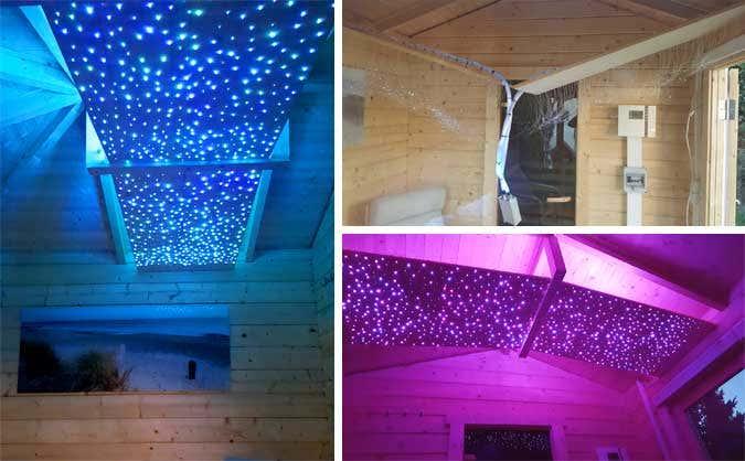 Collage LED-Lichtereinbau