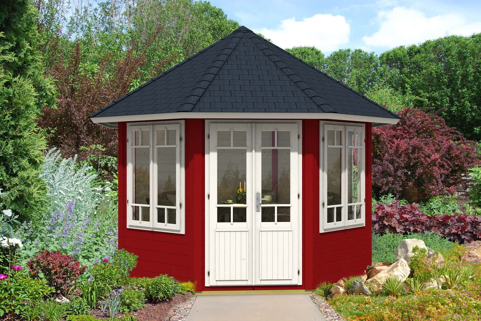 gartenpavillon katrin 34 mit 4 fenstern a z gartenhaus gmbh. Black Bedroom Furniture Sets. Home Design Ideas