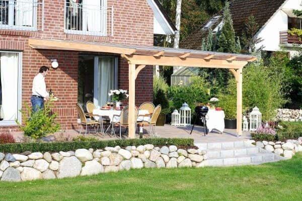 Terrassenüberdachung Holz Garten