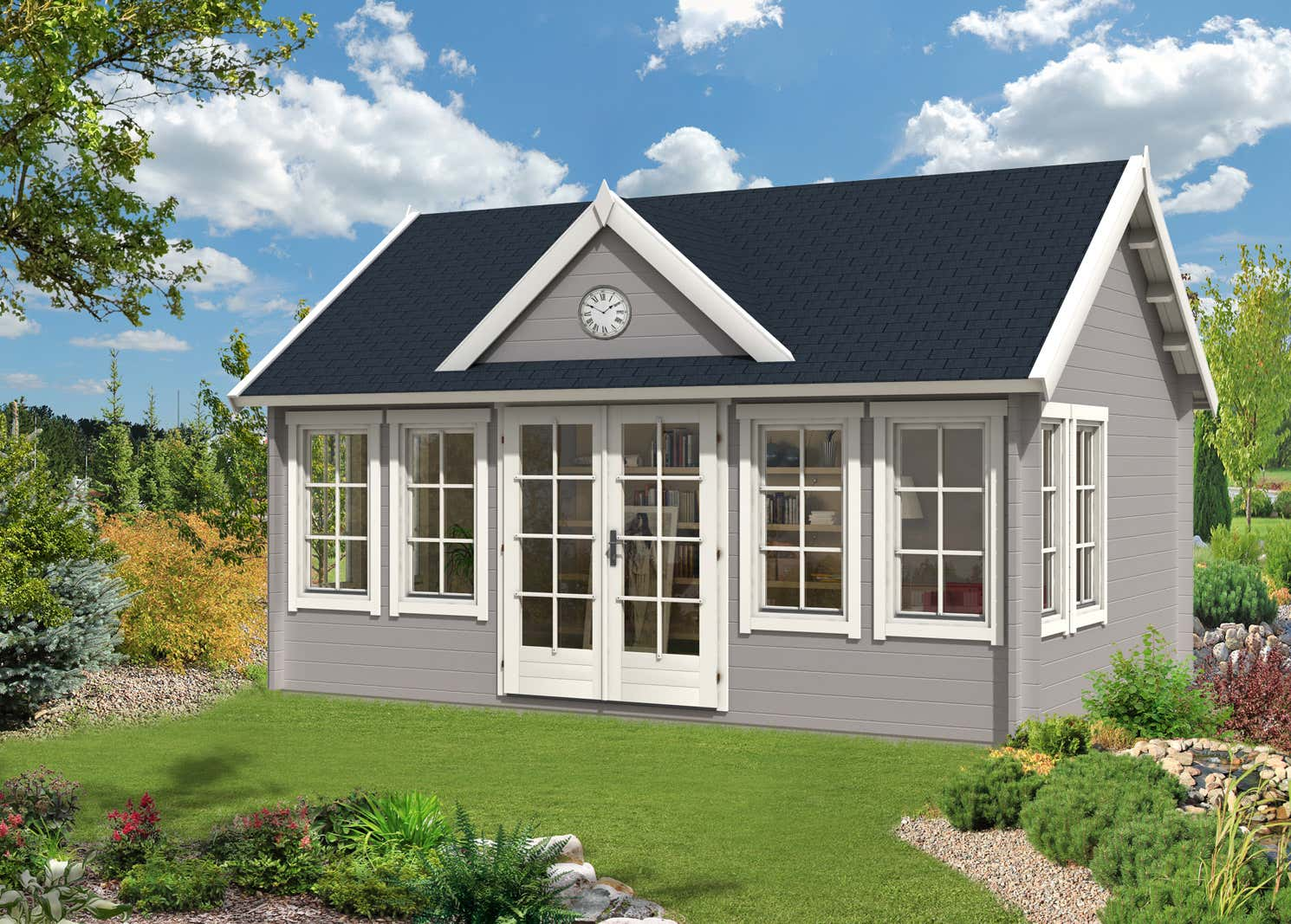 gartenhaus modell clockhouse xl 44 a z gartenhaus gmbh. Black Bedroom Furniture Sets. Home Design Ideas