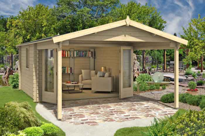 Gartenhaus mit Falttür und Terrasse