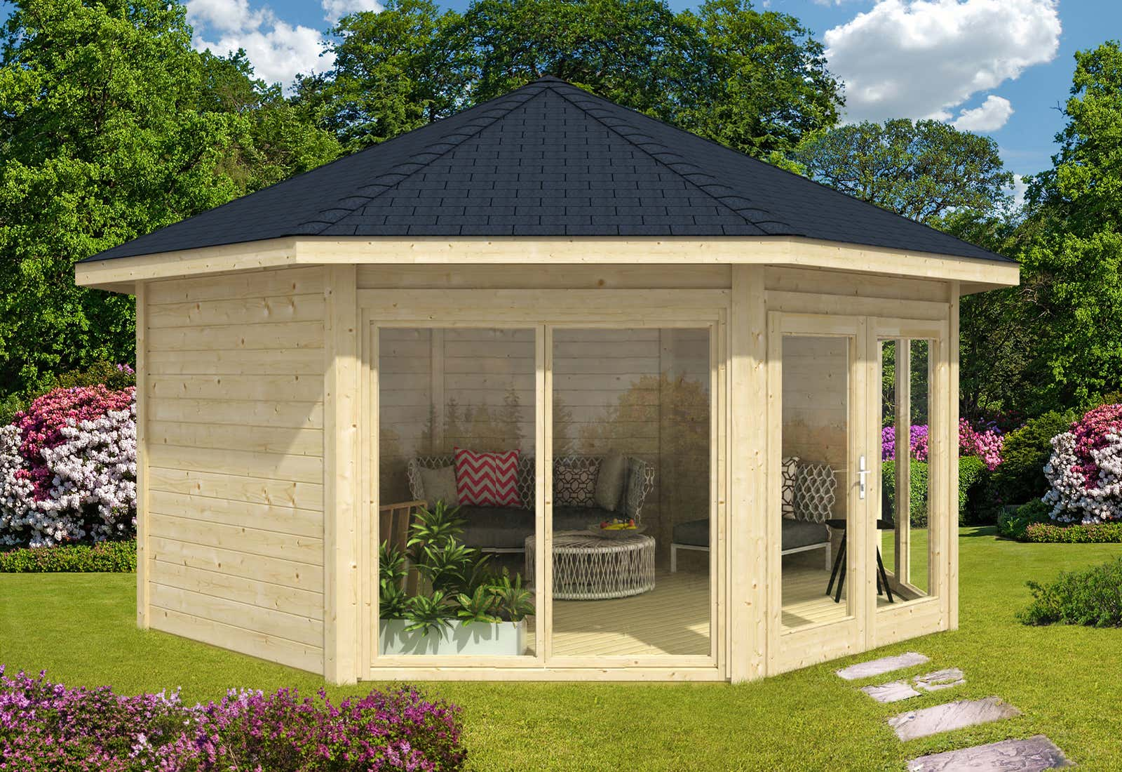 gartenpavillon modell r gen mit zwei fenstern a z gartenhaus gmbh. Black Bedroom Furniture Sets. Home Design Ideas
