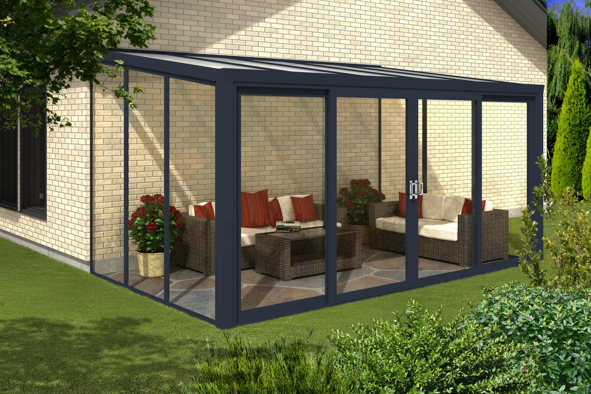 gartenzimmer 400 x 250 cm mit 4 teiliger schiebet r a z gartenhaus gmbh. Black Bedroom Furniture Sets. Home Design Ideas