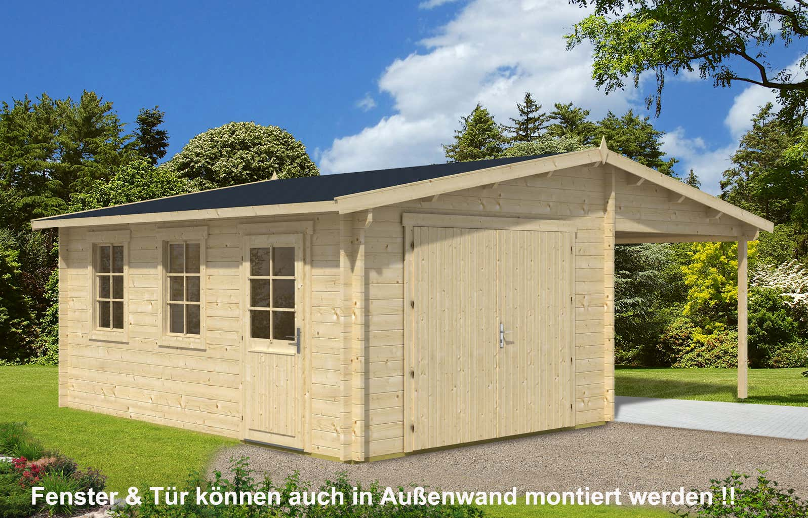 holzgarage mit carport 44 iso a z gartenhaus gmbh. Black Bedroom Furniture Sets. Home Design Ideas