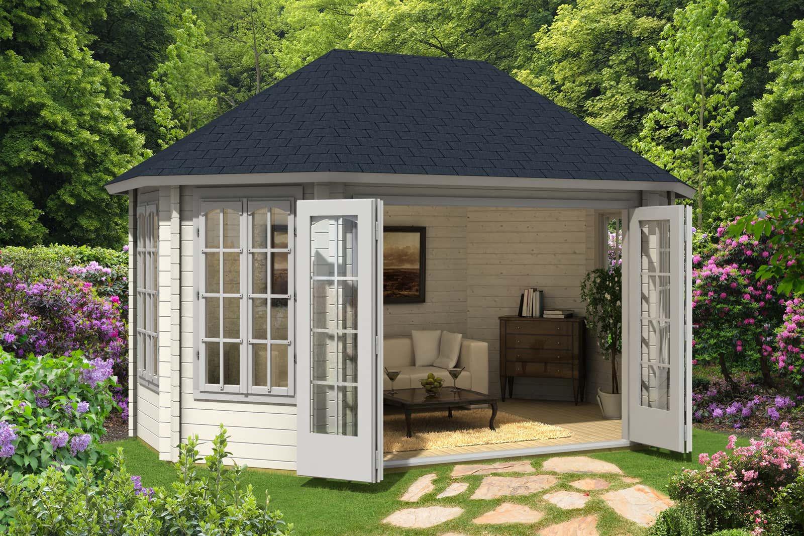 gartenpavillon gr nland 44 iso mit gro er faltt r a z gartenhaus gmbh. Black Bedroom Furniture Sets. Home Design Ideas