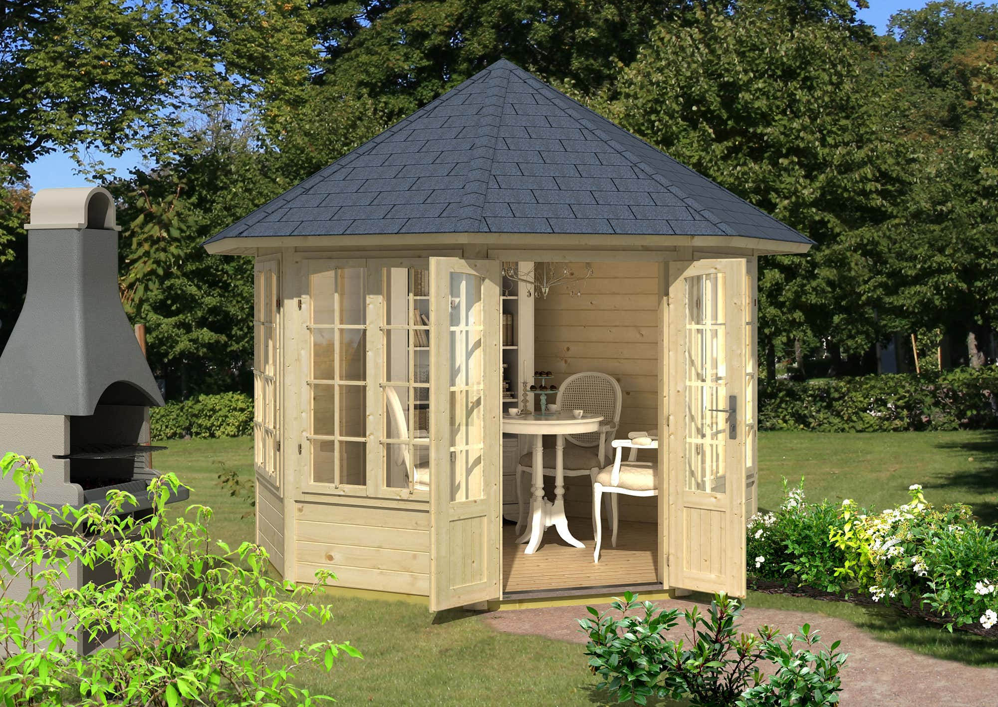 gartenpavillon modell louise 40 mit vier fenstern 122420 a z gartenhaus gmbh. Black Bedroom Furniture Sets. Home Design Ideas