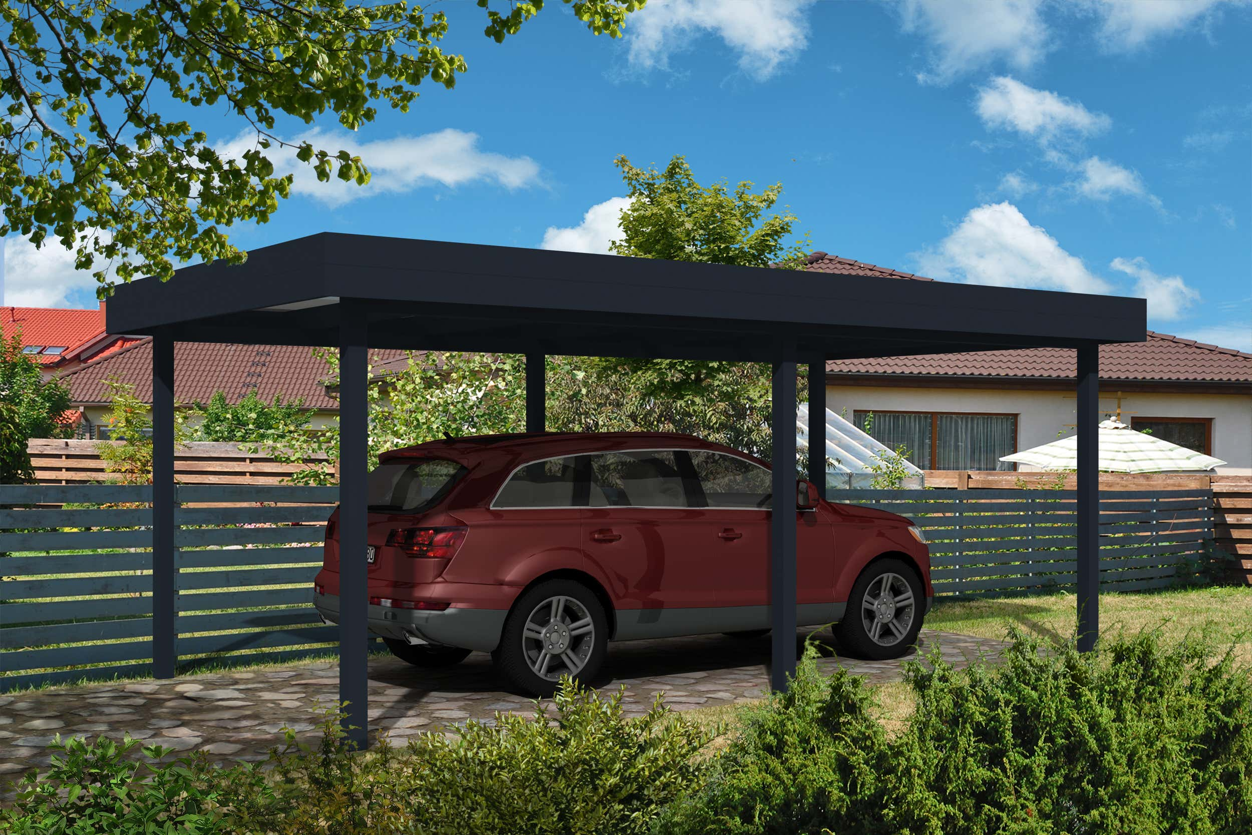 carport flachdach 300 x 500 cm a z gartenhaus gmbh. Black Bedroom Furniture Sets. Home Design Ideas