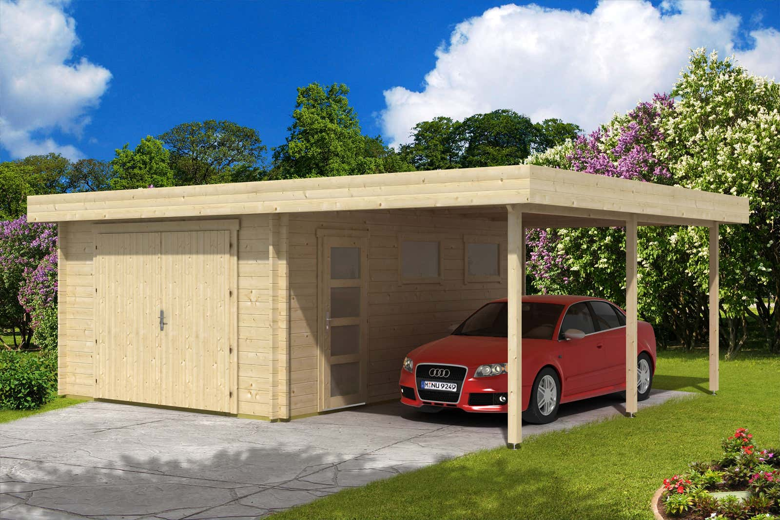 flachdach holzgarage mit carport 44 iso holzgarage mit. Black Bedroom Furniture Sets. Home Design Ideas