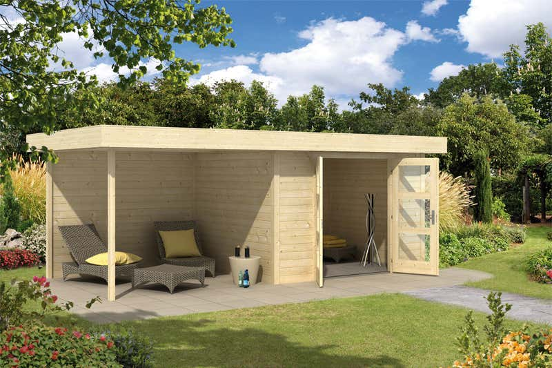 wolff flachdach gartenhaus calais mit veranda 828 130 a z gartenhaus gmbh. Black Bedroom Furniture Sets. Home Design Ideas