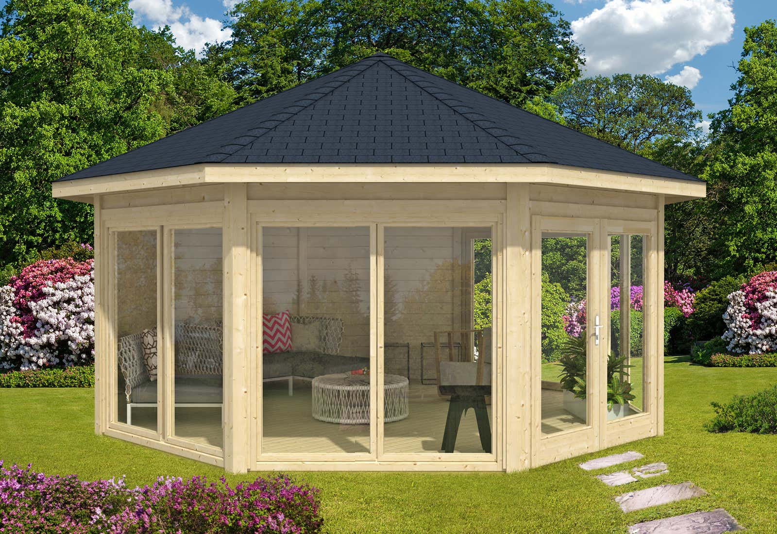gartenpavillon modell r gen mit vier fenstern a z gartenhaus gmbh. Black Bedroom Furniture Sets. Home Design Ideas