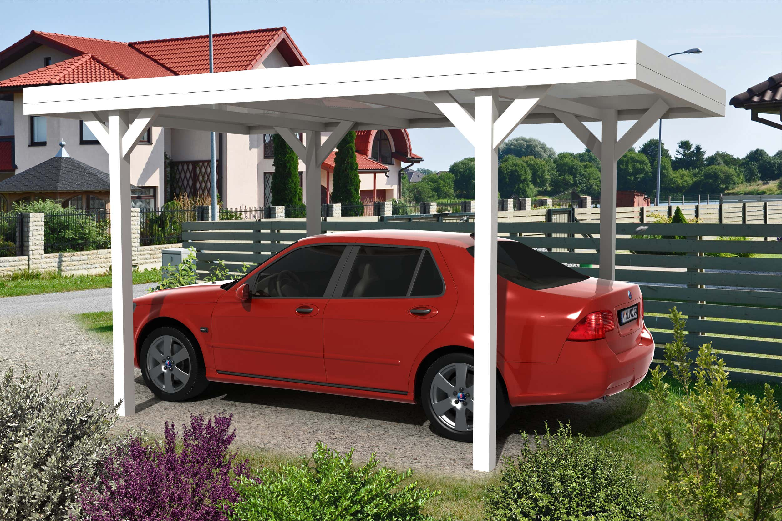 carport flachdach 300 x 400 cm a z gartenhaus gmbh. Black Bedroom Furniture Sets. Home Design Ideas