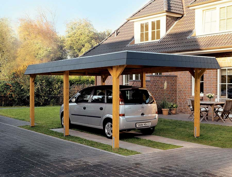 carport wendland 409 x 870 cm mit abstellraum a z. Black Bedroom Furniture Sets. Home Design Ideas