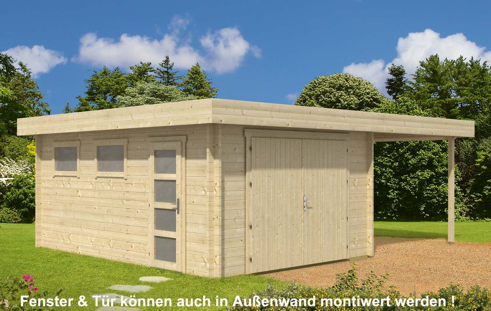flachdach holzgarage mit carport 44 iso holzgarage mit carport 44 iso a z gartenhaus gmbh. Black Bedroom Furniture Sets. Home Design Ideas