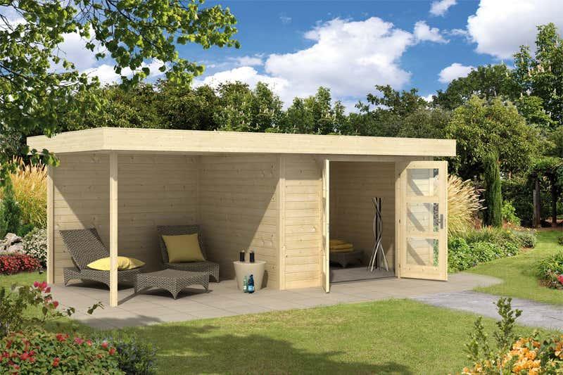 wolff flachdach gartenhaus calais mit veranda 828 130 a. Black Bedroom Furniture Sets. Home Design Ideas