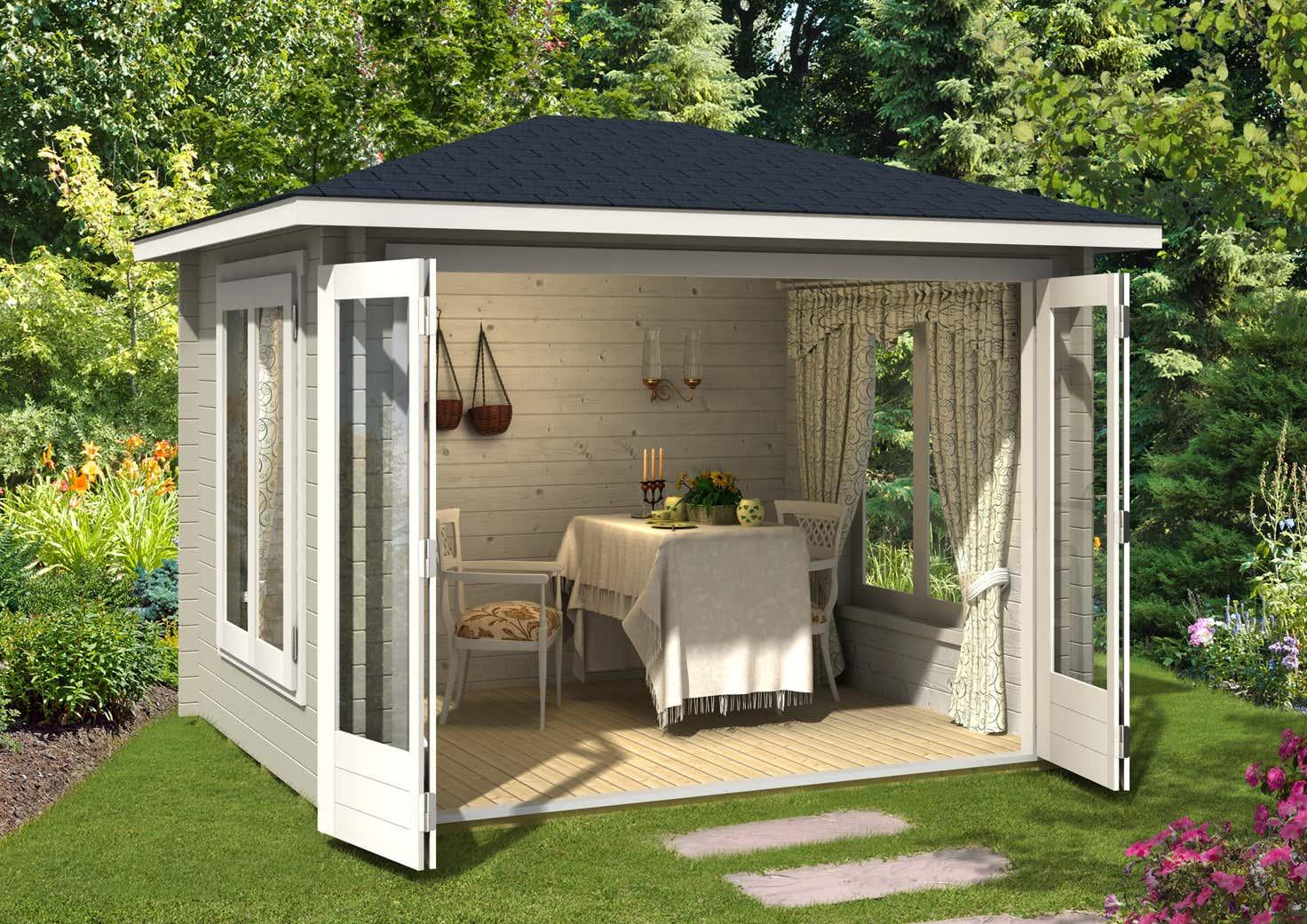 gartenhaus summertime 40 mit gro er faltt r a z gartenhaus gmbh. Black Bedroom Furniture Sets. Home Design Ideas