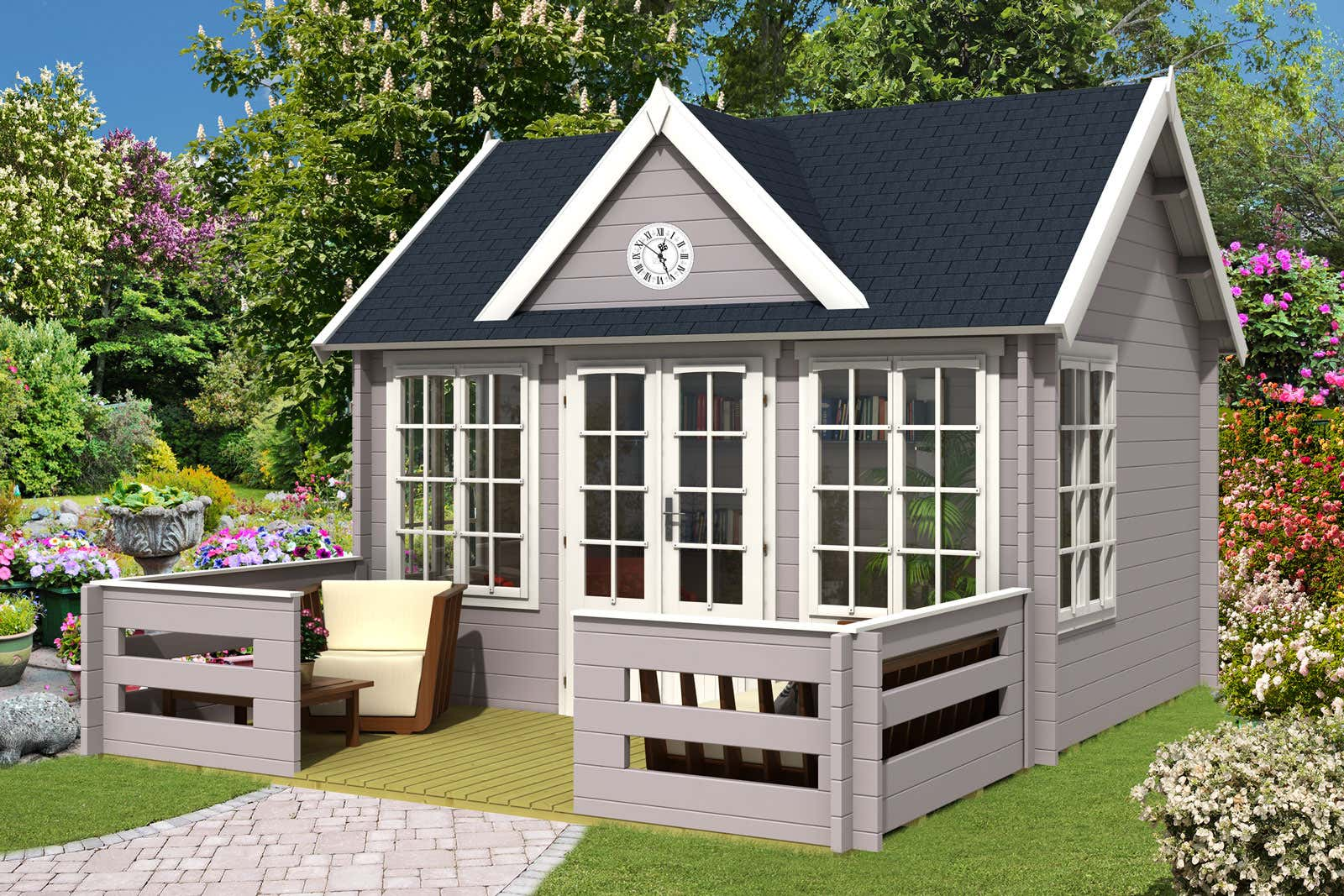 gartenhaus clockhouse 44 royal mit terrasse a z. Black Bedroom Furniture Sets. Home Design Ideas