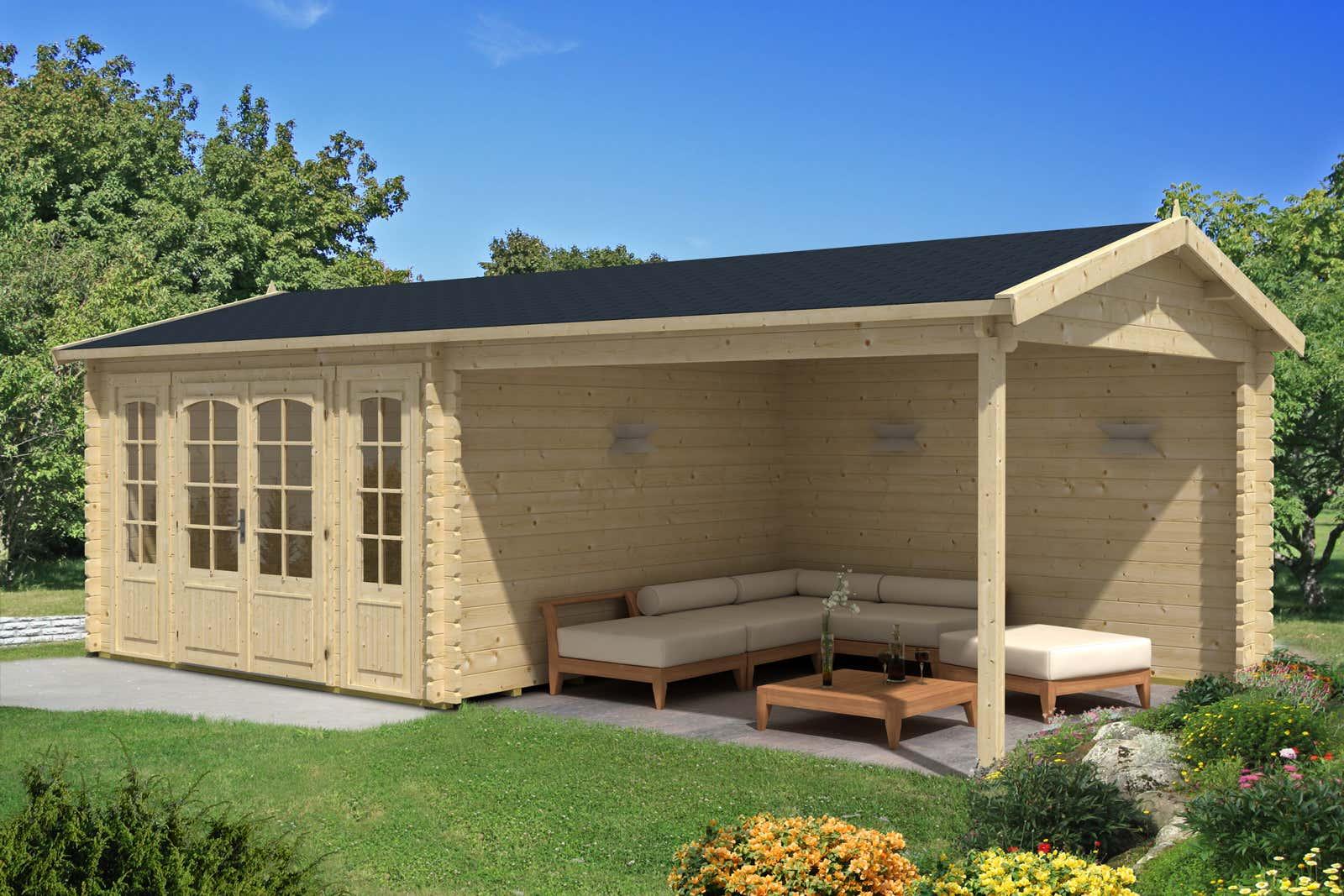 gartenholzhaus mit 40 44 mm wandst rke gro e auswahl. Black Bedroom Furniture Sets. Home Design Ideas